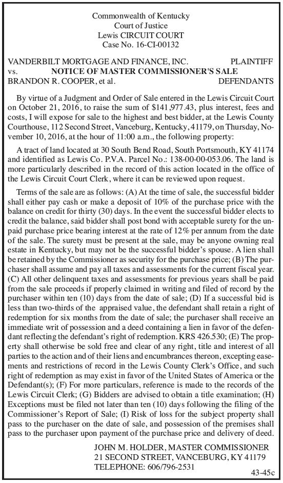 Notice of Master Commissioner's Sale, Vancerbilt Mortgage and Finance Inc vs Brandon R. Cooper et al