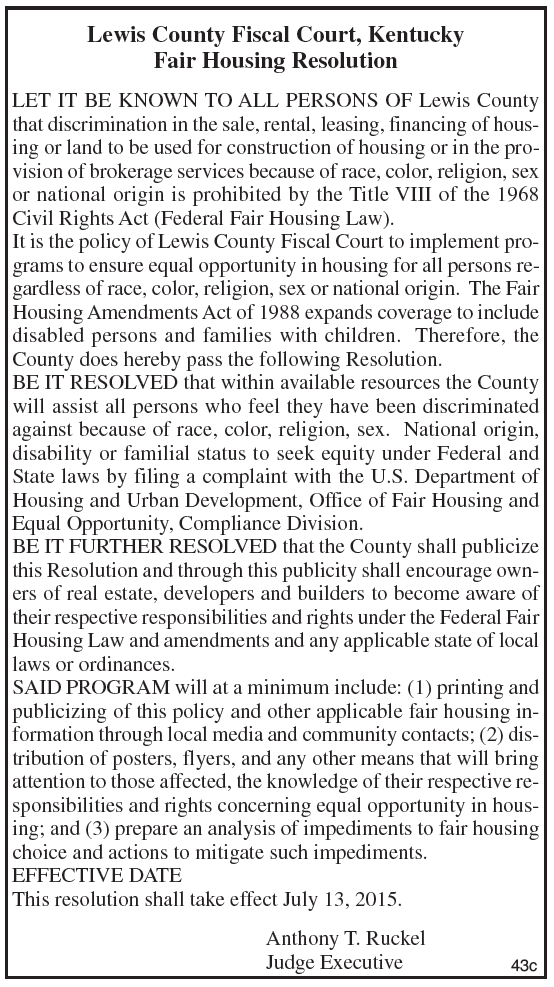 Lewis County Fiscal Court, Fair Housing Resolution