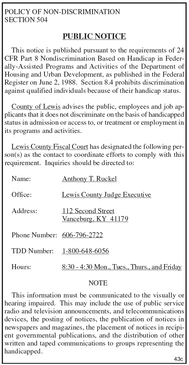 Notice of Non-Discrimination, Lewis County Fiscal Court