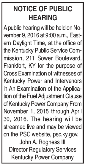 Notice of Public Hearing, Public Service Commission, Fuel Adjustment Clause, Kentucky Power Company