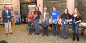 Members of the Lewis County Board of Education recognized CCR seniors during a regular meeting. Pictured with Superintendent Jamie Weddington are Kyra Adams, Curtis Carver, Luke Swearingen, Taylor Skidmore, Nicole King and Eden Jordan. - Dennis Brown Photo