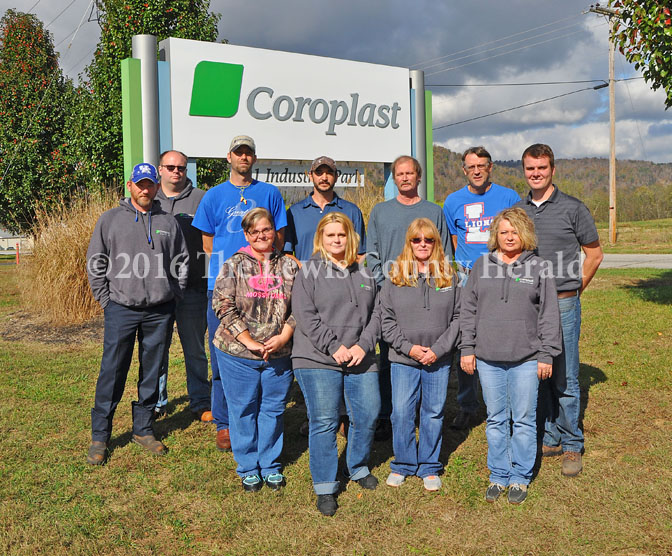 Coroplast team members took a few minutes to gather for a photo outside the recently ISO Certified facility at Black Oak. Back row, left to right, Rodney Switzer, Jacob Brewer, Scottie O'Neal, George Cooper, David Olds, Robert Barton and Plant Manager Thomas Hein. Front row, Janice Toller, Goldie Rowe, Mary Sue Kinsel and Kathy Blevins. - Dennis Brown Photo
