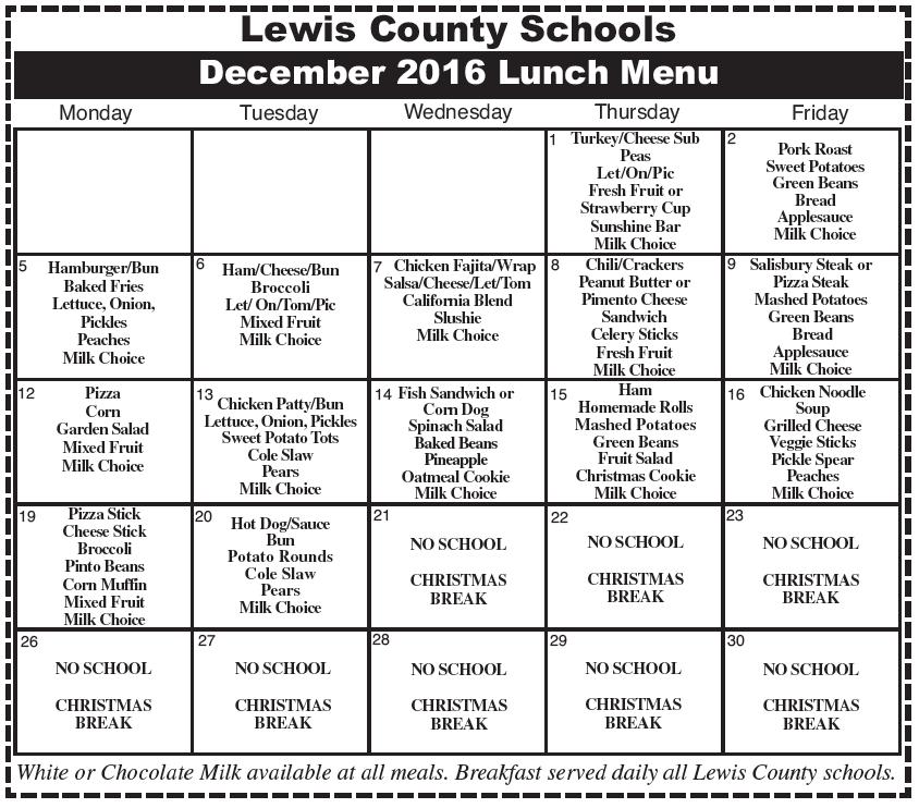 Lewis County Schools November 2016 Menu