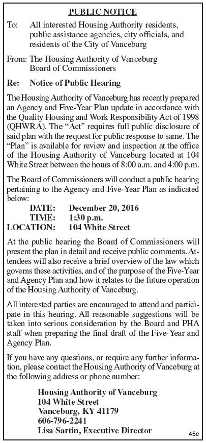 Vanceburg Housing Authority, Notice of Public Hearing