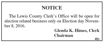 Lewis County Clerk, public notice