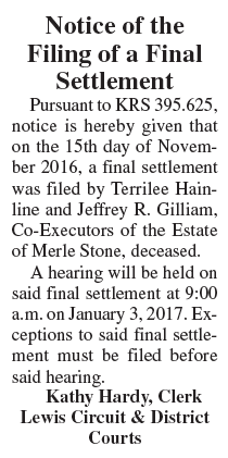Notice of Filing of Final Settlement, Estate of Merle Stone