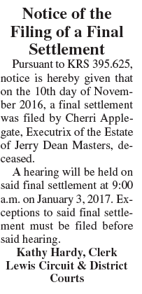 Notice of Filing of Final Settlement, Estate of Jerry Dean Masters