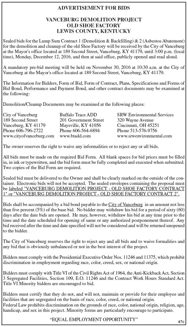 Advertisement for Bids, Vanceburg Demolition Project, Old Shoe Factory