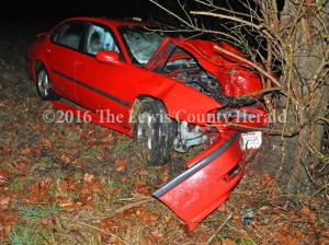An Ohio man was injured early Monday when this vehicle reportedly hydroplaned on the AA Highway west of Vanceburg, went off the roadway and struck a tree. - Dennis Brown photo