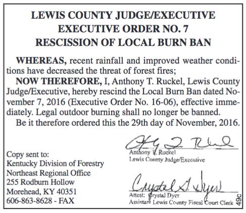 Rescission of Burn Ban, Judge Executive Order