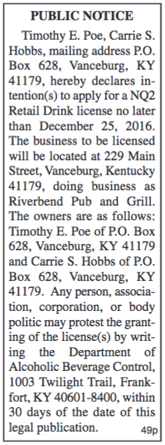 Public Notice, Intent to Apply for Retail Drink License