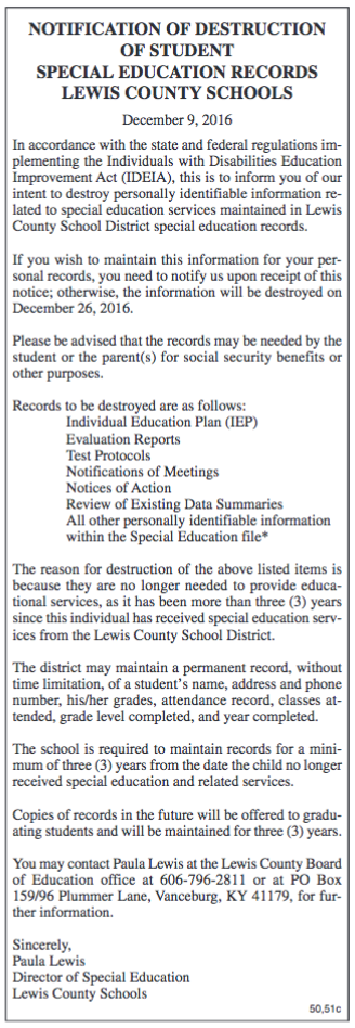 Notice of Destruction of Student Special Education Records, Lewis County Schools