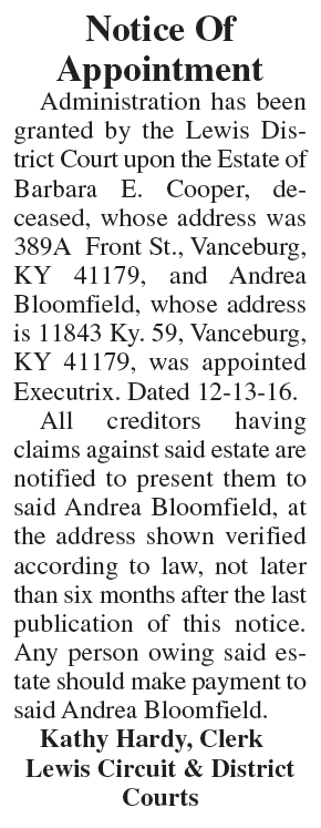Notice of Appointment, Estate of Barbara E. Cooper