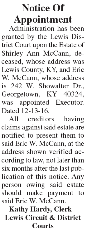 Notice of Appointment, Estate of Shirley Ann McCann