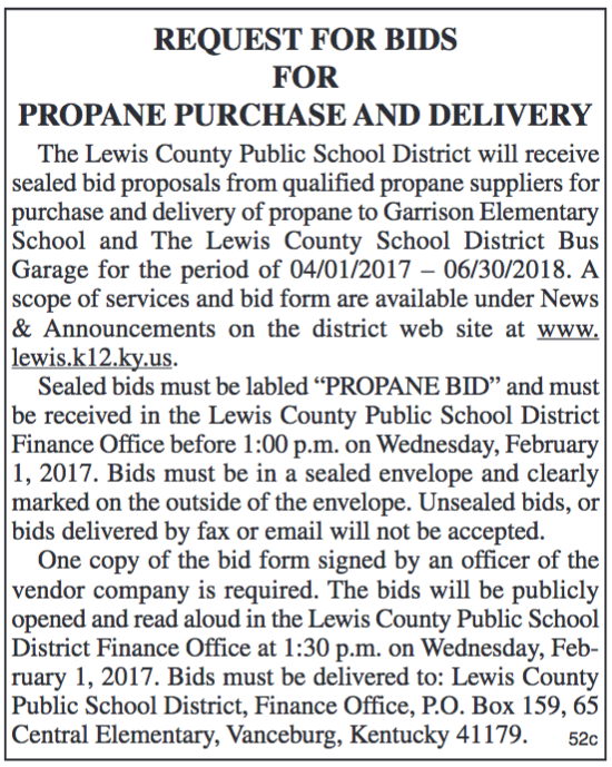 Request for Bids for Propane Purchase and Delivery, Lewis County Schools