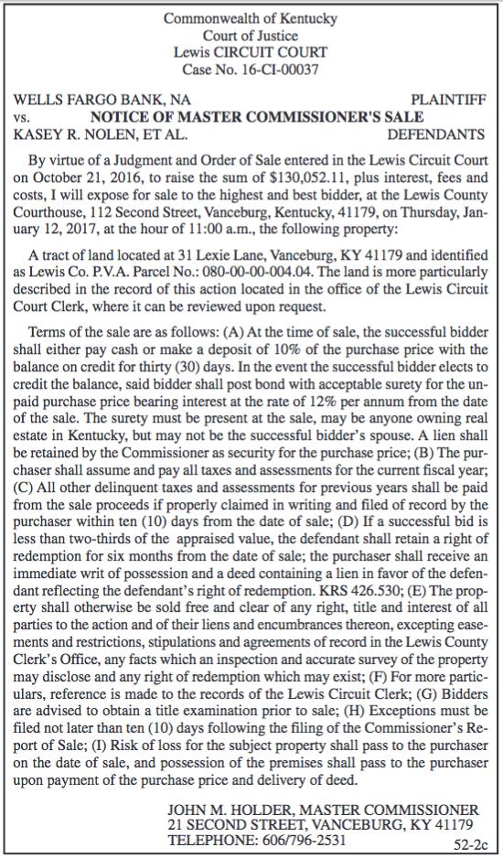 Notice of Master Commissioner's Sale, Wells Fargo Bank vs Kasey R Nolen et al