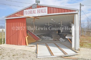 The Floral Hall building at Tollesboro Lions Club Park was extensively damage when someone drove an auto into it. - Dennis Brown Photo