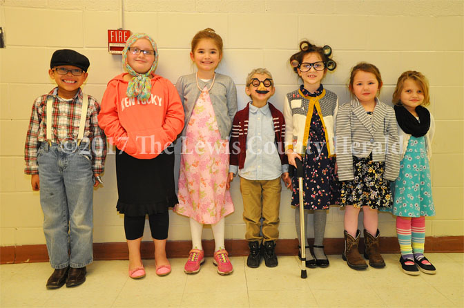 Garrison Elementary students decked out for the 100th day of school. Zay Yates, Autumn Stone, Isabella Bloomfield, Bryson Stamper, Lillie Bentley, Emma Walters and Aurora Mosley.