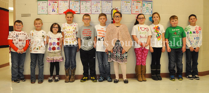 Garrison Elementary students decked out for the 100th day of school. Cameron Parson, Trevor Nathaniel Fisher, McKenna Harris, Deaira Riffe, Braxton Detillion, Brody Detillion, Isabella Martin, Emma Hunt, Kie Moore, Creighton Arnold and Preston Thurman.