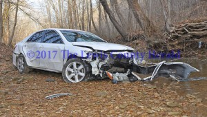 A Vanceburg teen wasn't hurt despite the apparent damage to her vehicle in an accident Tuesday morning south of Vanceburg. - Dennis Brown Photo