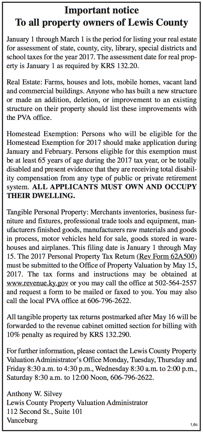 Notice to all Lewis County Property Owners, Lewis County PVA, Anthony Silvey