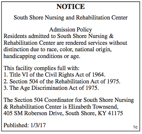 South Shore Nursing and Rehabilitation Center Admission Policy