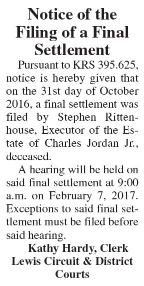 Notice of the Filing of a Final Settlement, Estate of Charles Jordan Jr