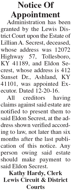 Notice of Appointment, Estate of Lillian A Secrest