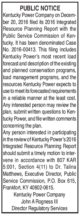 Public Notice, filing of Integrated Resource Planning Report with PSC, Kentucky Power Company