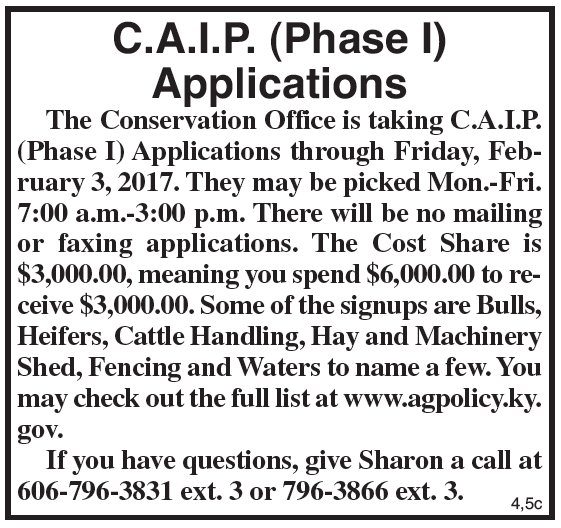 Conservation Office Accepting CAIP Applications