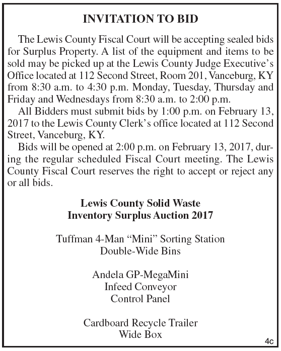 Lewis County Solid Waste, Invitation to Bid