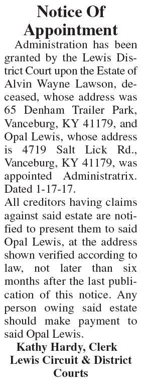Notice of Appointment, Estate of Alvin Wayne Lawson