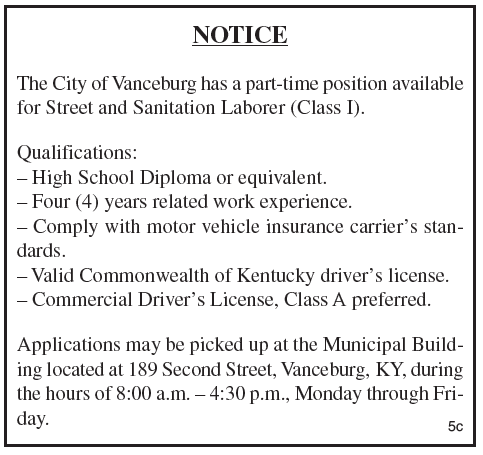 City of Vanceburg, Part-time position, Street and Sanitation Laborer