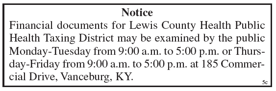 Public Notice, Lewis County Health Public Health Taxing District, financial documents available for examination