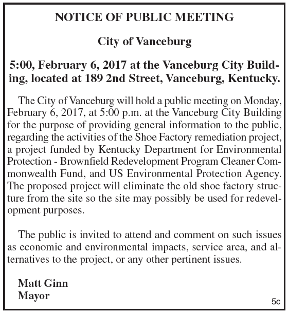 City of Vanceburg, Notice of Public Meeting