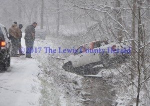 No one was hurt in this single vehicle accident on Ky. Rt. 59 just south of Vanceburg Hill Sunday afternoon. - Dennis Brown Photo
