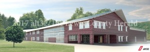 This architect's rendering is how the new facility for Central Elementary will appear when completed. The new facility will be located where the superintendent's office now sits and the present facility will be torn down to make room for parking. - alt32 Rendering