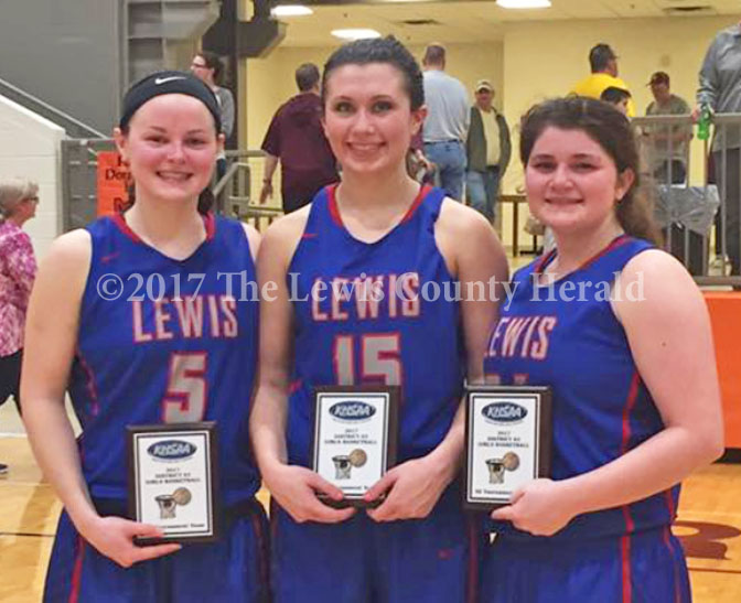 Three Lady Lions were named to the 63rd District All Tournament Team on Thursday. Pictured, left to right, Gracie Yates, Abby Pick, Erica Frye. - Kristen Frye Photo