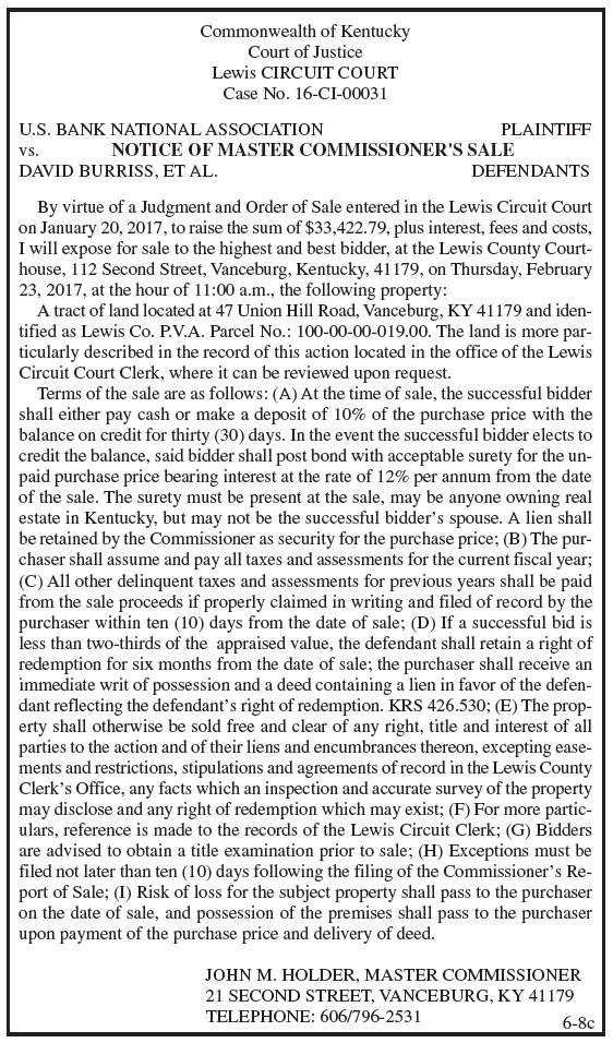 Notice of Master Commissioner's Sale, US Bank National Association vs David Burriss et al