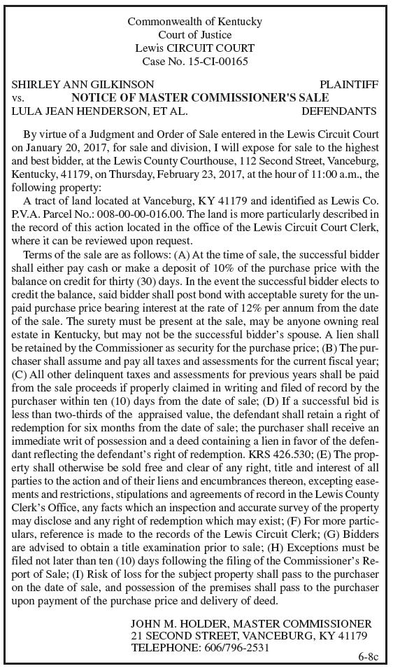 Notice of Master Commissioner's Sale, Shirley Ann Gilkinson vs Lula Jean Henderson et al