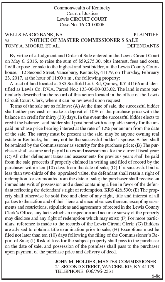 Notice of Master Commissioner's Sale, Wells Fargo Bank NA vs Tony A Moore et al