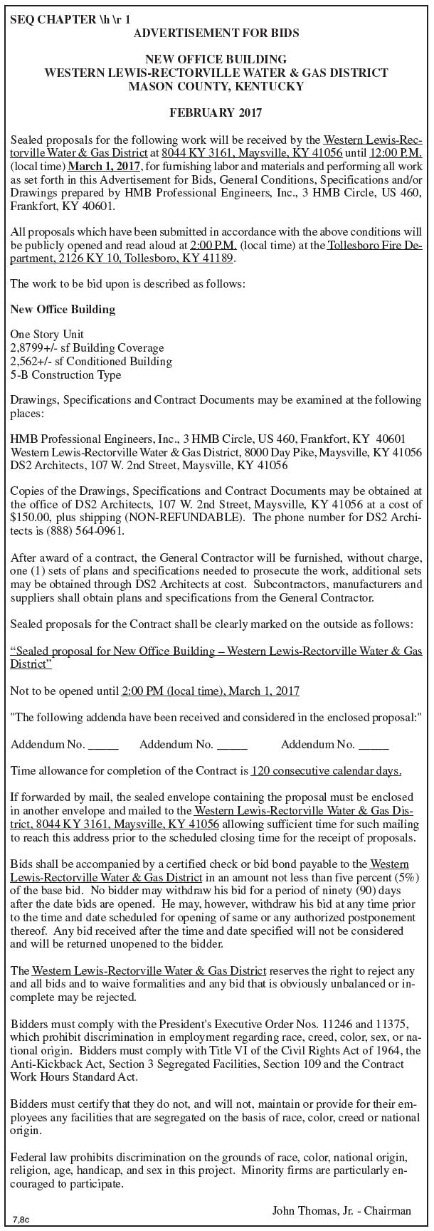 Western Lewis-Rectorville Water & Gas District, Advertisement for Bids