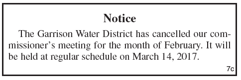 Garrison Water District, Public Notice