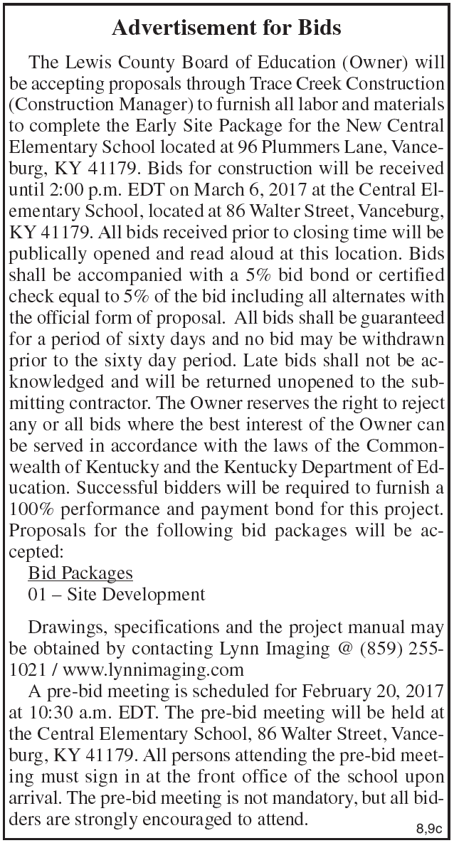 Lewis County Board of Education, Advertisement for Bids, New Central Elementary School