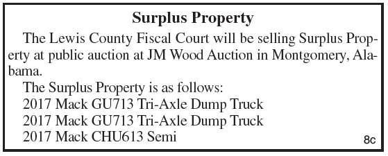 Lewis County Fiscal Court, Surplus Property