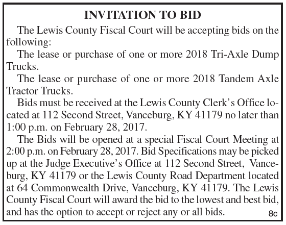 Lewis County Fiscal Court, Invitation to Bid, Road Department Equipment