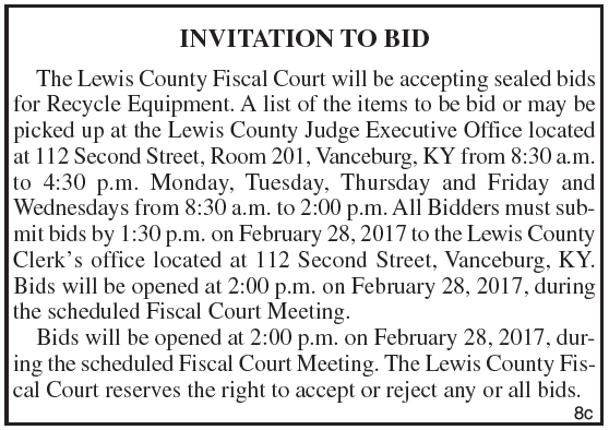 Lewis County Fiscal Court, Invitation to Bid, Recycle Equipment