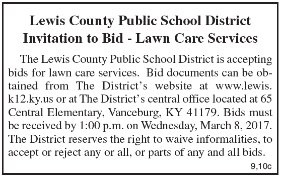 Lewis County Schools, Invitation to Bid, Lawn Care Services