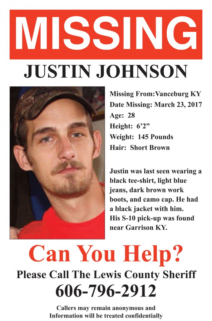 Missing person poster released for Justin Johnson The Lewis – Missing Person Poster