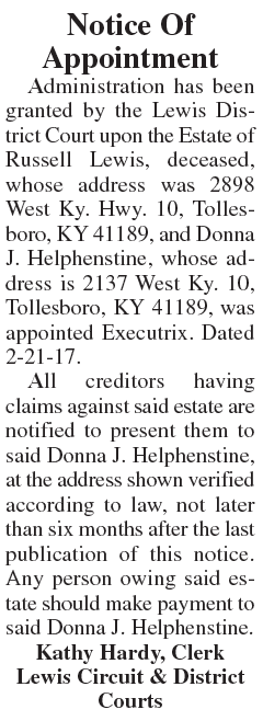 Notice of Appointment, Estate of Russell Lewis
